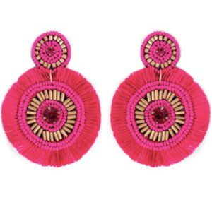 Hot pink Gold Sea Bead Statement Earrings